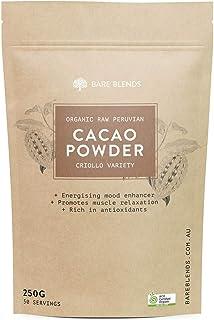 Bare Blends Organic Raw Peruvian Cacao Powder - Australian Certified Organic (ACO) - Healthy Chocolate - 250g