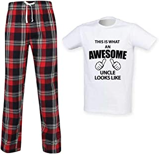Mens This is What an Awesome Uncle Looks Like Tartan Pyjama Set Fathers Day Birthday