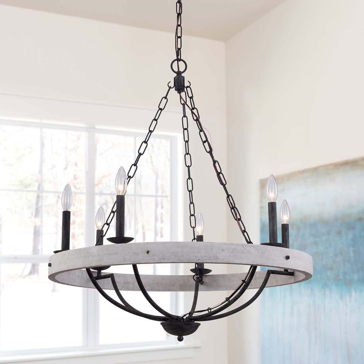 Farmhouse Rustic 6-Light Ranking TOP14 Candle New Shipping Free Shipping Chandelier Cottage Woode Wooden