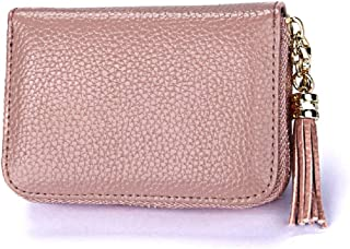 Dlife Genuine Cowhide Leather Wallet Zipper Accordion Pendant Tassel RFID Blocking 15 Card Slots Small Credit Card Wallet for Women (Dark Pink)