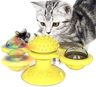 Apofly Jaune drôle Moulin à Vent Jouet pour Chat Cat Rouleau Jouets Jouets pour Les Chats interactifs avec LED Ball et cat...
