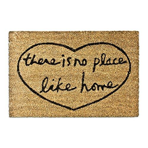Relaxdays There Is No Place Like Home Zerbino per Ingresso, Legno_Composito, Marrone, 50 x 65 cm