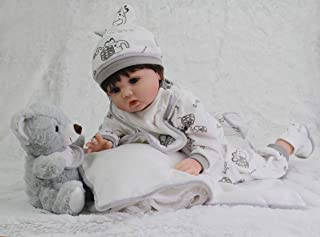 Sweet Collection (Tandi) Taidi Realistic Reborn Baby Doll 22in Handmade Soft Silcone Lifelike 7-Piece Gift Set Baby Birthday&Xmas Gift