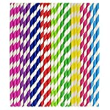 ZEONELY MART® Bio-degradable Disposable paper Drinking Straws-Pack Of -300 Pieces(multi)(size -10mm,hight - 8 inch)