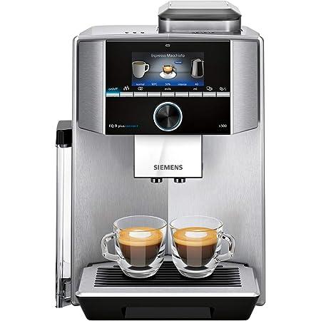 Siemens EQ.9 Plus Connect s500 TI9553X1RW – Machine à café automatique connectée avec écran TFT–Permet de préparer deux tasses simultanément Broyeur céramique silencieux – Couleur : Inox