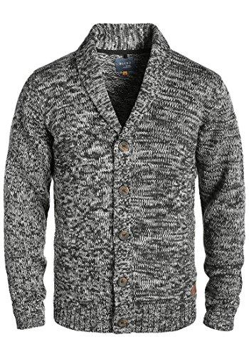 Blend Tigre Herren Strickjacke Cardigan Grobstrick Winter Pullover mit Schalkragen, Größe:M, Farbe:Black (70155)