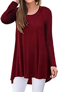 SimpleFun Women's V Neck Long Sleeve Flowy Casual Tunic Tops Floral Shirts Loose Blouses