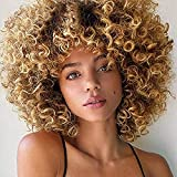 Psalms Hair Short Curly Blonde Wig for Black Women Natural Puffy Afro Wig with Bangs Goodly Kinky Curly Wig Synthetic Heat Resistant Full Wigs(Brown Mixed Blonde)