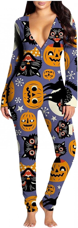 Pajamas for Women Sleepwear,Cute Halloween Printed Butt Button V Neck Bodycon Lingerie Party Nightwear One Piece Sets
