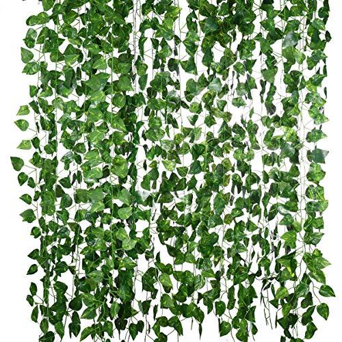 Imikeya Artistieke schroeven + 50 stuks stropdassen kroon klimplanten groene opknoping planten slinger milieuvriendelijk reukloos kunstmatige schroeven planten opvuur krans voor muur hek