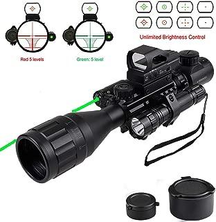 XopingABC Hunting Rifle Scope Combo C4-16x50EG/12x50EG Dual Illuminated with Green Laser Sight 4 Holographic Reticle Red/Green Dot for Weaver/Rail Mount