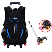 GUOGEGE Kids Trolley Backpack High Capacity Waterproof Nylon The Lever Is Detachable 6 Wheels for Elementary and Middle School Boys and Girls