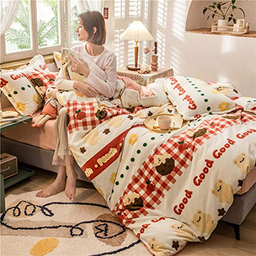 geek cook 4 Piece Bedding Set,Winter thickened milk fleece four-piece bedding warmth flannel three-piece bed sheet-Bear_1.2 meters