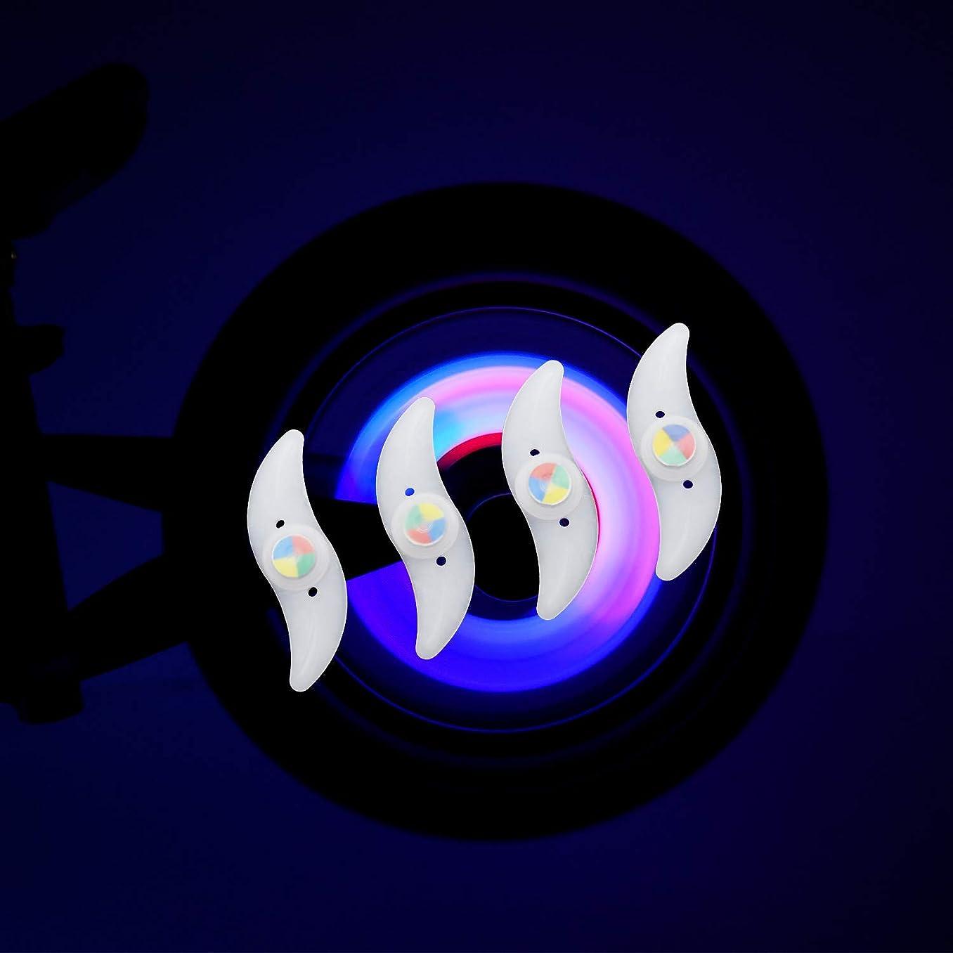 予報各海外で自転車ホイールライト 4個セット 4色変換 自転車用スポークLEDライト タイヤライト 夜間セーフティライト 夜道 安全警告ライト 簡単 取り付け