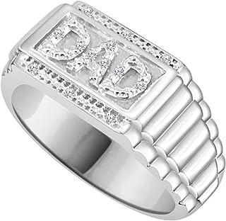 مجوهرات تريليون 0.04CT الماس الطبيعي 14K الذهب الأبيض إنهاء الرجال DAD's الدائري
