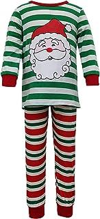 2 Piezas Pijamas Familiares para Navidad Ropa de Dormir Navideña Top Camiseta Pantalones Largos con Estampado de Rayas y Patrones de Papá Noel para Familia