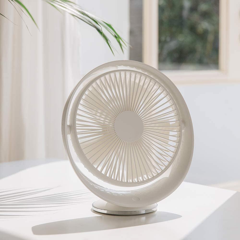 HARATA 8-inch Desk Fan Rechargeable Lithium Battery Operated Fan, 3 Speeds and Quiet Operation, 160° Rotationd Up and Down USB Table Fan, Strong Wind & Cordless Design for Home Kitchern Office