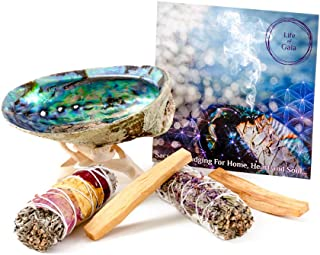 LIFE OF GAIA Sage Smudge Kit with Abalone Shell, Tripod, Rose and White Sage Bundle, Lavendar White Sage Smudge Stick and Palo Santo Sticks. Smudging Kit for Home Cleansing and Positivity
