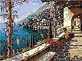 Pintura Por Números Balcón Camino De Flores - Bricolaje Pintura Al Óleo Digital Pintura Acrílica Set Niños Adultos Decoración Para El Hogar Con Marco 16x20 Pulgadas