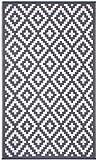 FH Home Alfombra/Alfombra de plástico Reciclado para Interiores/Exteriores - Reversible - Resistente al Clima y a los Rayos UV - Aztec - Grey/White (120 cm x 180 cm)