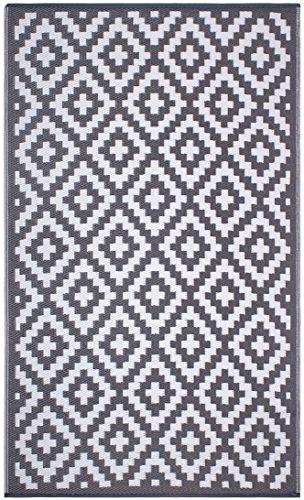 FH Home Tapis de Sol en Plastique recyclé pour intérieur/extérieur – Réversible – Résistant aux intempéries et aux UV - Aztec - Grey/White (150 cm x 240 cm)