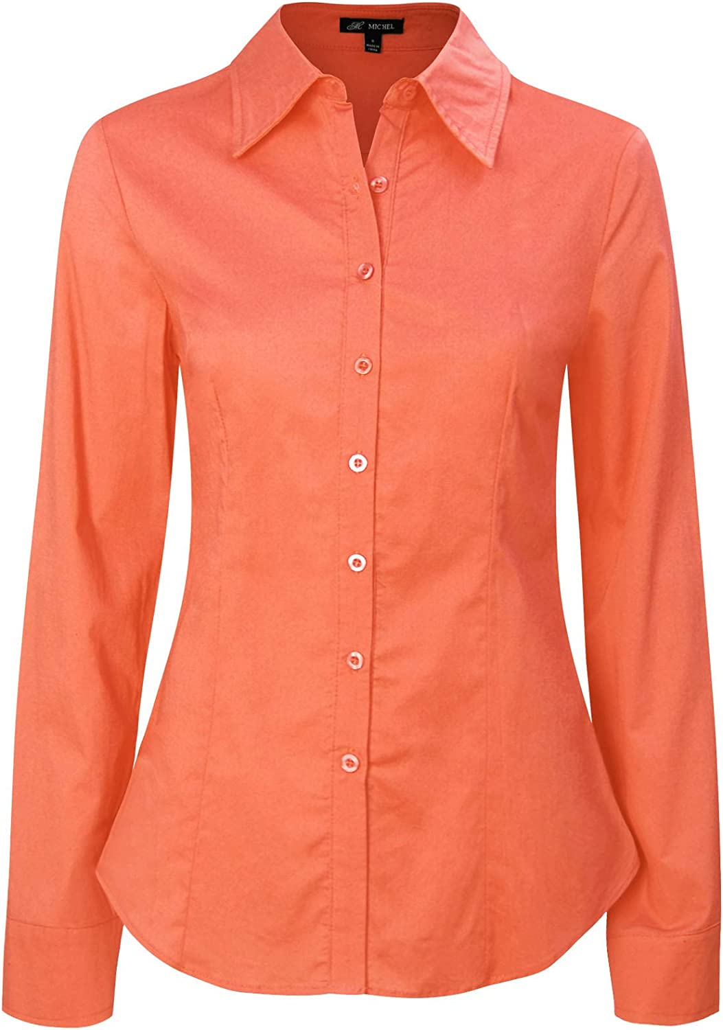 Michel Womens Long Sleeve Shirts Blouse Casual Shirts with Plus Size (1XL ~ 3XL)
