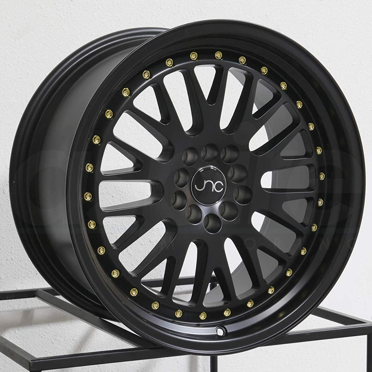 JNC001 Matte Black w/Gold Rivets 15x8 4x100 ET25 Offset Wheel Rim