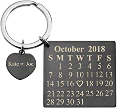 Jovivi Personalized Custom Special Date Calendar Keychain Stainless Steel Key Ring with Heart Dog Tag for Couples Family Best Friends