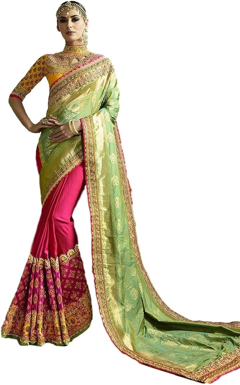 EthnicWear New Trendy Designer Half n Half Indian Green Pink Art Silk Crape Jacquard Party Embroidered Saree Sari