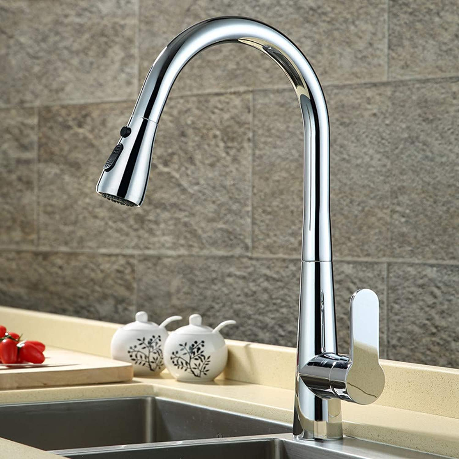 Kitchen Sink Sink redating Pull Type One Button Water Stop Hot and Cold Copper Faucet B Chrome