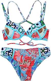 Nomeni 水着 ビキニ サーフィン服 マルチカラー ラッシュガード オシャレ 女の子 温泉 セクシー パッド付き 人気 レディース