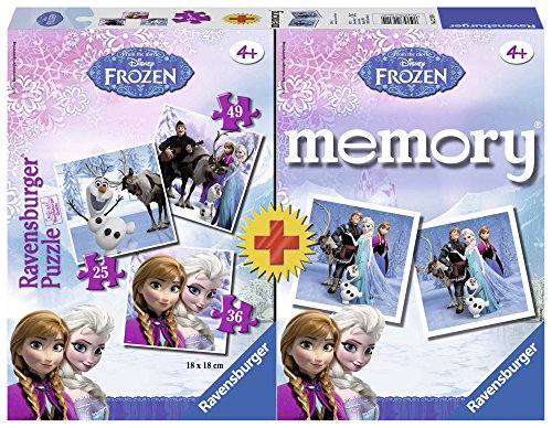 Ravensburger- Frozen+Memory Disney Princess Set Puzzle per Bambini, Multicolore, 22311