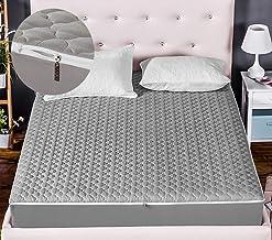Liveinu Hypoallergenic Six-Side Zipper Quilted Mattress Pad Fleece Mattress Cover Overall Protector Mattress Topper Grey 4...