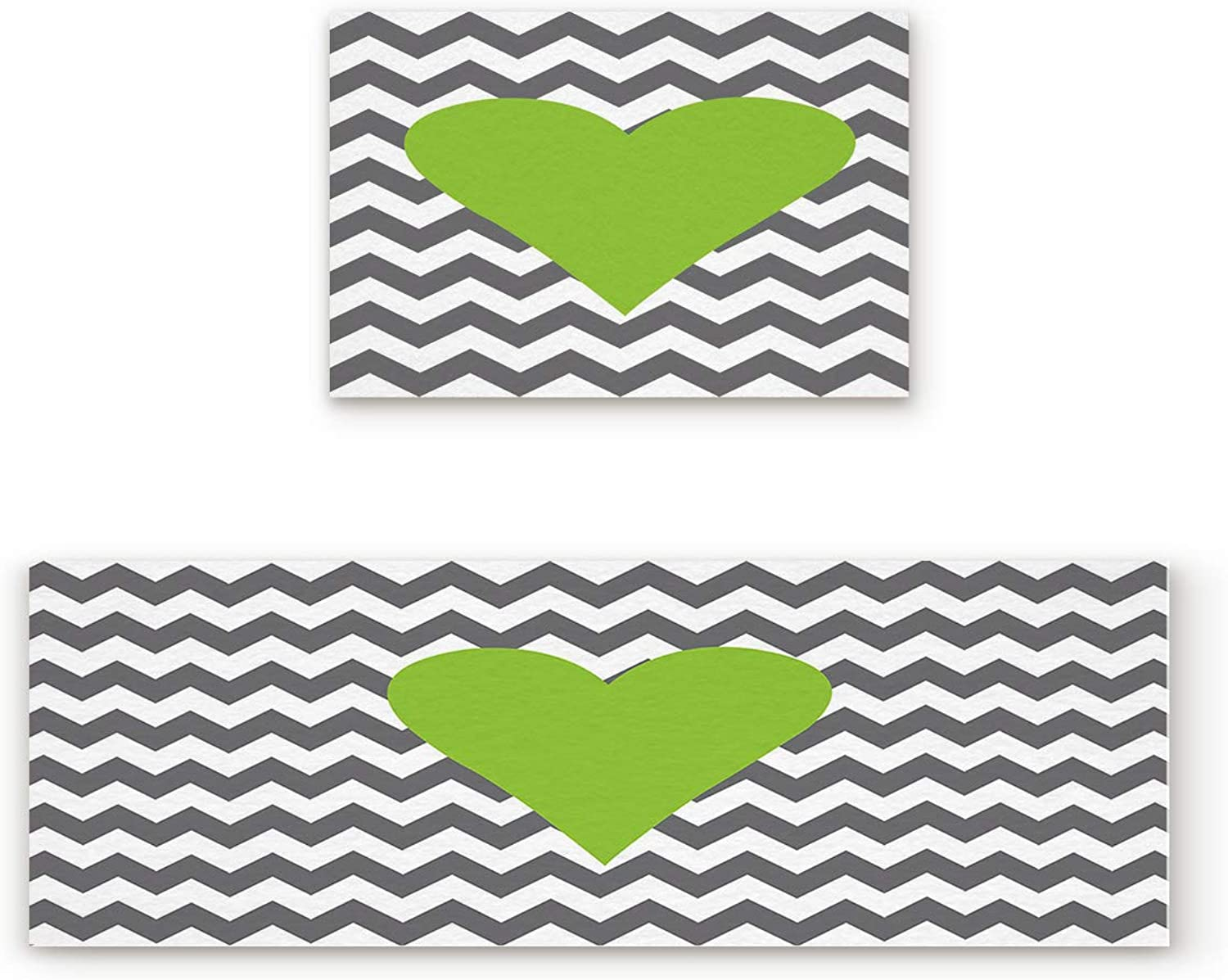 KAROLA 2 Piece Non-Slip Kitchen Mat Doormat Runner Rug Set Thin Low Pile Indoor Area Rugs Heart Symbol Painted on Chevron Romance Valentines Themed Print 19.7 x31.5 +19.7 x47.2