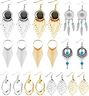 10 Pairs Boho Statement Drop Dangle Earrings Golden Silvery Fashion Jewelry Fringed Tassel Character Exaggerated Earrings Set for Women & Girls