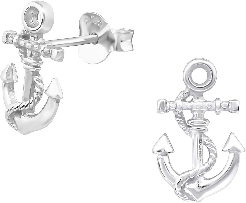 AUBE JEWELRY Ranking TOP3 Hypoallergenic 925 Sterling Stud Earr Silver Anchor Bargain sale
