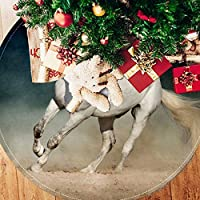 ツリースカート クリスマスツリースカート 馬 走る かっこいい ホリデーデコレーション メリイクリスマス飾り 下敷物 可愛い 雰囲気 クリスマスパーティー 直径107cm