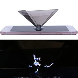 3D Holographic Projector, OWIKAR 360°Full View DIY 3D Holographic Projection Display Prism Stand Pyramid for iPhone X 8 7, iOS, Android All 3.5-6.5'' Smartphone