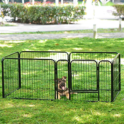 jeerbly Juego de 6 paneles, adecuado para conejos/guinas/perros y gatos, para mascotas, cachorros, juegos de juegos, jaulas de entrenamiento, jaulas de correr, metal martillado plateado