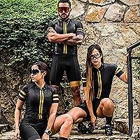 トライアスロンスーツ、男性女性のためのサイクリングジャージー、プロームサイクリング衣料品クイックドライチームスキンシュー (Color : Gold, Size : Large)