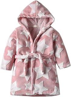 Bébé Filles Robe de bébés Rose Peignoir à Capuche Uni Robe De Bain Robe De Chambre Kimono 6-24 M