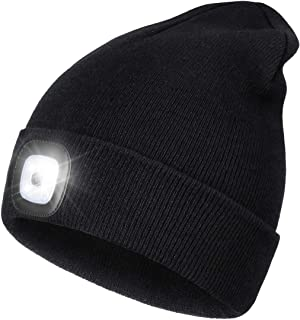 LED Beanie Hat with Light,Unisex USB Rechargeable Hands Free 4 LED Headlamp Cap Winter Knitted...