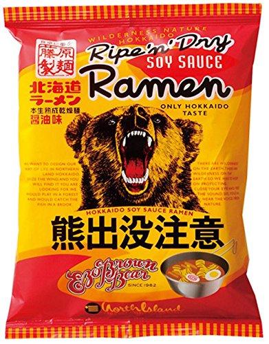 藤原製麺 北海道熊出没注意ラーメン 醤油味 112g