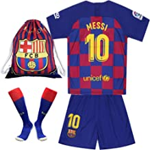 10 Messi Shirt 2019-2020 Season - Barcelona Home Soccer T Shirt Shorts and Socks and Gym Bag for Kids Youth Red/Blue