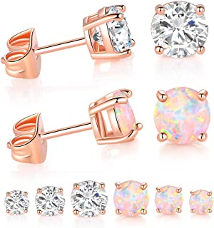 6 Pairs Stud Earrings Pack in Rose Gold Plated Color with Bright Opal and CZ Stone