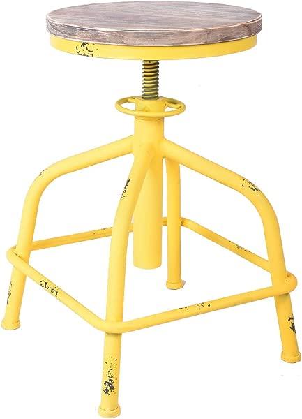 Topower 美式古董工业设计酒吧凳圆座可调节旋转吧台椅在建筑外墙设计黄木