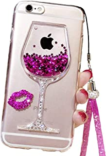 Black Lemon Cute Case Compatible for iPhone 6, Liquid Glitter Case for 6s, Goblet Wine Glass Liquid Quicksand Flowing Floating Bling Glitter Sexy Makeup Case for Girls with Neck Lanyard-Rose