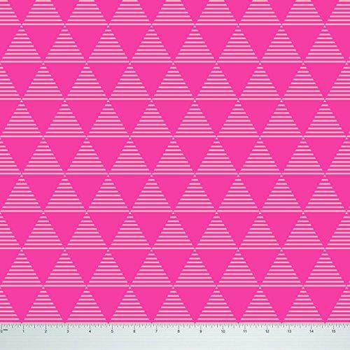 Soimoi 55 gsm geométrica de impresión 42 Pulgadas de Ancho Viscosa Gasa Tela por Metros - Rosa
