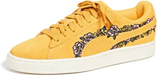 Womens Suede Embroidered Floral Sneaker