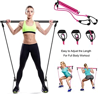 Persunhome Portable Pilates Exercise Stick Bar Kit with Resistance Band, Workout Equipment Resistance Toning Bar Home Gym ...